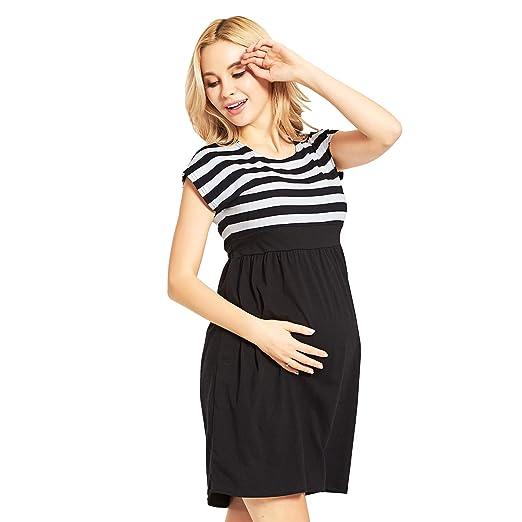 e5a31d1efab AICONL Women s Maternity Knee Length Stripe Pregnant Dress Summer Baby  Shower Dress Short Sleeves Black at Amazon Women s Clothing store