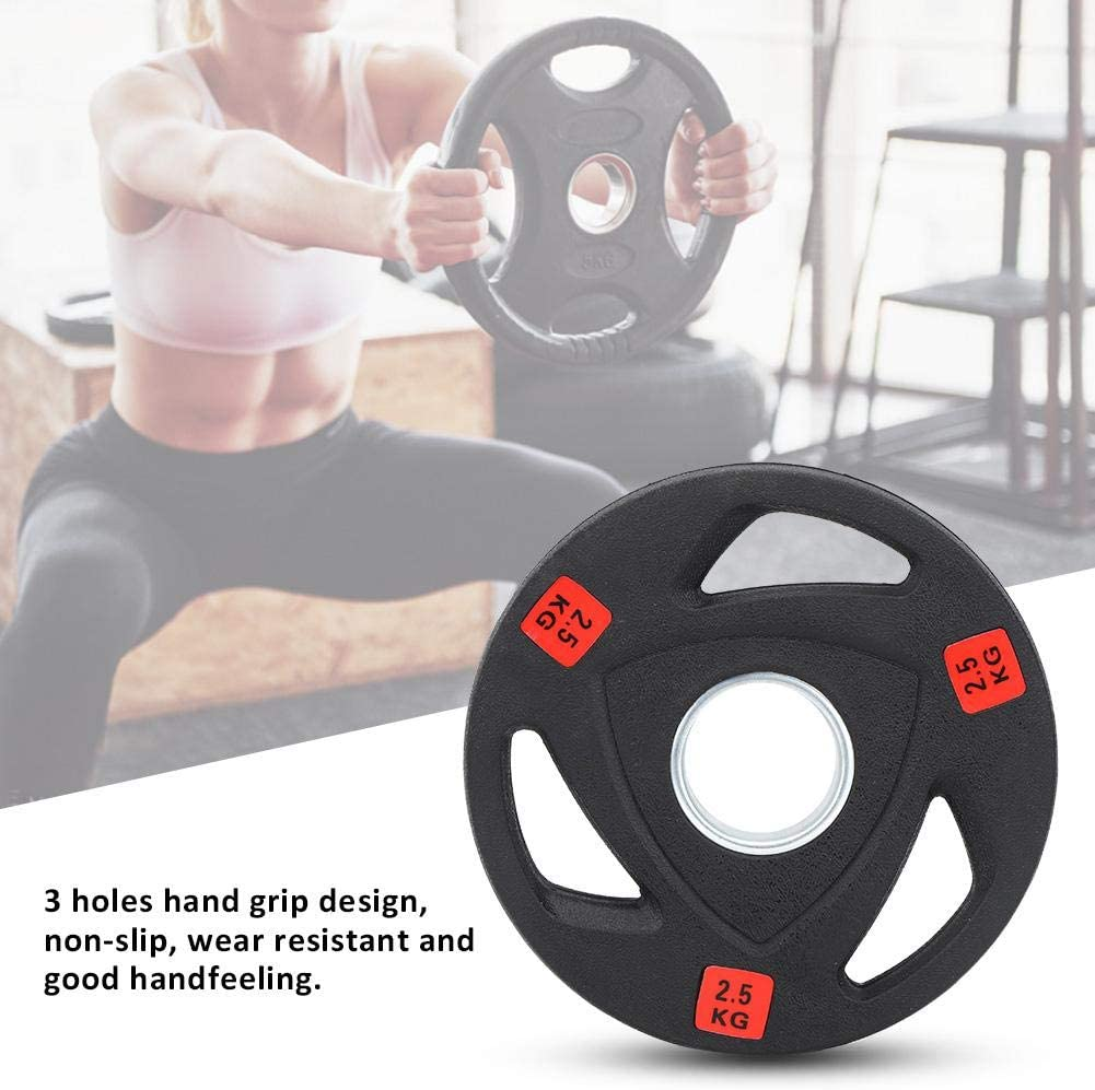 Liukouu 3 Holes Grip Weight Plates Fitness Training Hand Grip Plate Single Barbell Hand Grip Weight Plates Weightlifting Exercise Tool for Bodybuilding 2.5KG