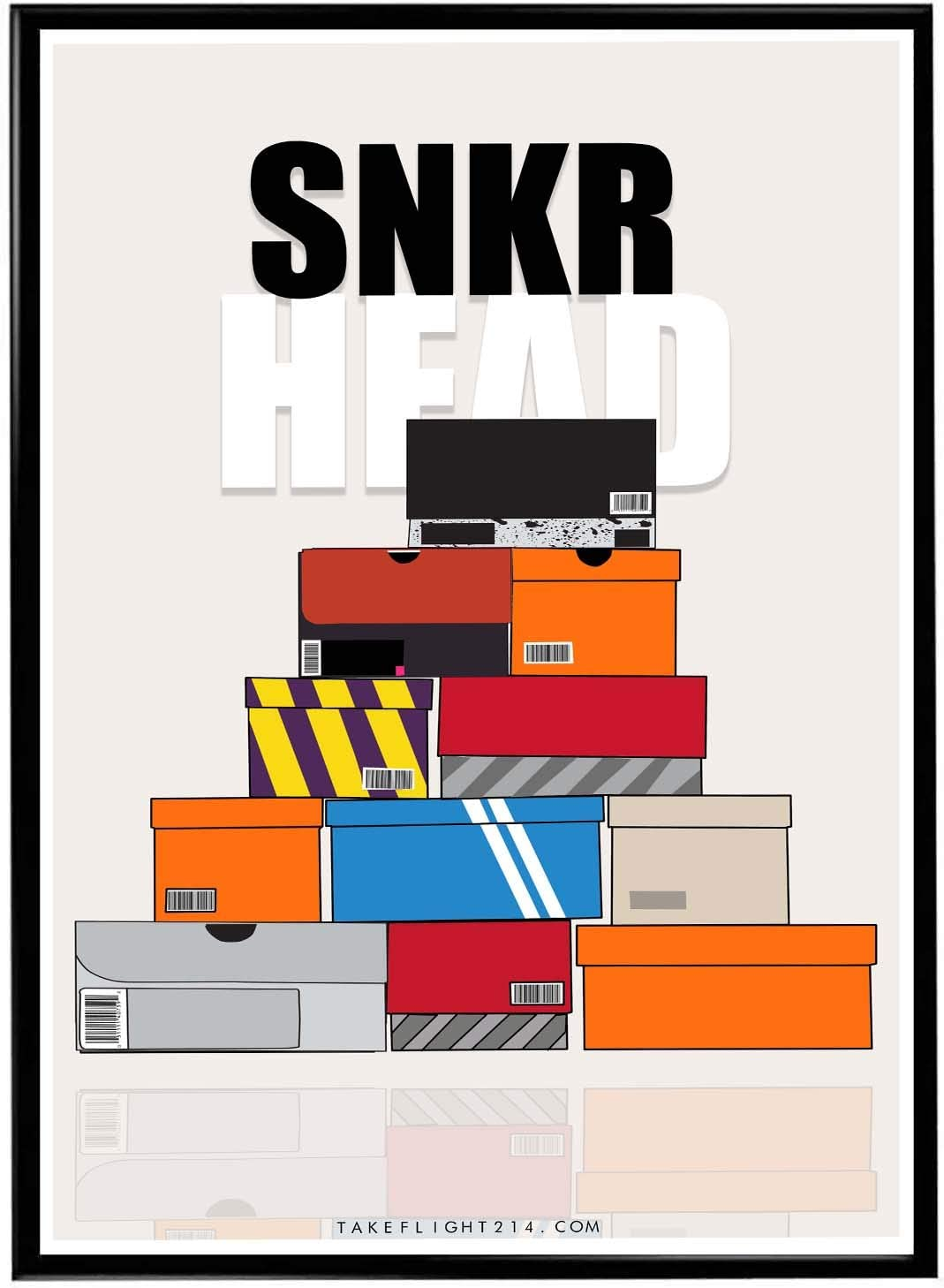 Rob'sTees Sneaker Head Boxes Poster, Streetwear Poster, Hype Poster, Kicks Poster, Pop Culture Sneaker Art Wall Decor Urban Wall Art (Frame NOT Included) (12x18)