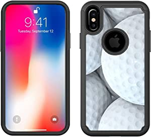 CorpCase iPhone X/iPhone 10 / iPhone Xs Case (5.8 inch) - Golf Ball - Hybrid Cute Sports Design Pattern Shockproof Heavy Duty Protection Bumper Case/Cover