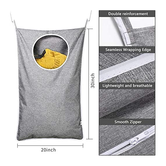 KEEPJOY Hanging Laundry Hamper Bag with Free Adjustable Stainless Steel Door 2 PCs Suction Cup Hooks, Best Choice for Holding Dirty Clothes and Saving Space, Grey - Size: 30*20*2 in - It has an extra large capacity to collect all of your families clothes. High-Quality Material - Hanging Laundry Bag is made of best Oxford fabric, durable and easy to washable. Unique Zipper Design - Back side zipper at the bottom for easier and quicker unloading. - laundry-room, hampers-baskets, entryway-laundry-room - 61gYGpfmGuL. SS570  -