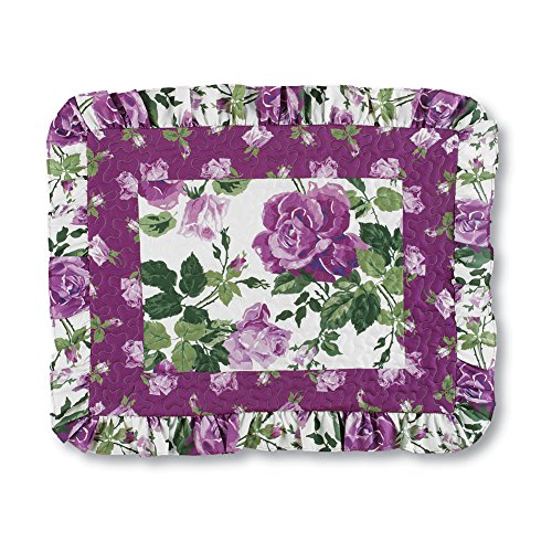 (Collections Etc Roseland Ruffled Pillow Sham with Purple Roses, Fresh Green Floral Pattern)