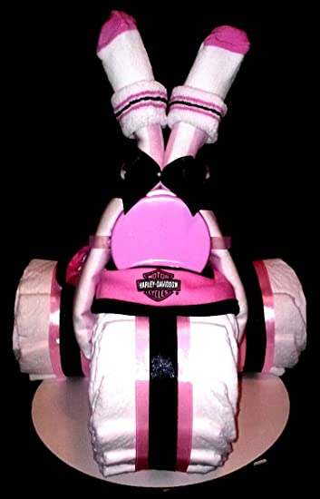 Pink Harley Davidson Diaper Cake Tricycle Baby Shower Centerpiece By Little  Kgu0027s Dreams