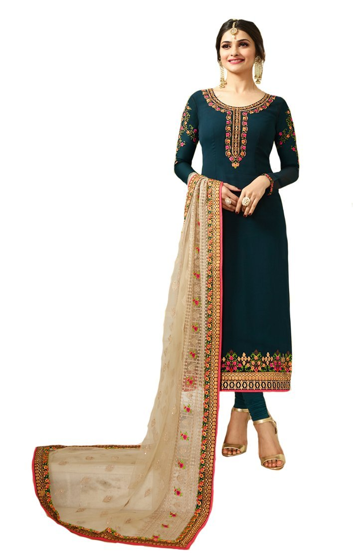 Ready Made New Designer Indian/Pakistani Fashion Salwar Kameez For Women (Dark Blue, MEDIUM-40)