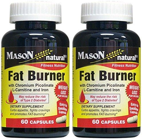 Mason Natural Fat Burner with Chromium Picolinate, L-Canitine and Iron 60 Capsules per Bottle Pack of 2 Bottles Total 120 Caps by Mason VitaminsMason Vitamins