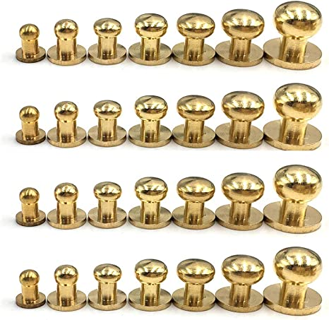 40 Sets 8mm Copper Button Stud Screw Nail Screwback Leather Craft Rivet Belt