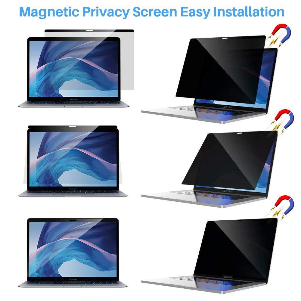 L K Magnetic Privacy Screen Protector for MacBook Air 13.3 Inch 2018 Release (Model : A1932), [Easy Installation On/Off] Reversible Magnetic Privacy Anti-Spay Anti-Glare Laptop Screen Filter by L K (Image #7)