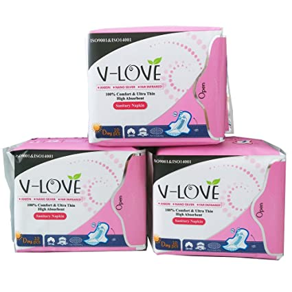 VLOVE Patentado Anion Maxi Normales-Toallas Sanitarias-3 paquetes de 10 cada