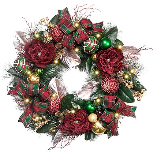 Valery Madelyn Pre-Lit 24 Inch Christmas Wreath for Front Door with Ball Ornaments, Berries, Pine Cones, Tartan Ribbons and Flowers, Battery Operated 20 LED Lights (Front Small Door Wreath)