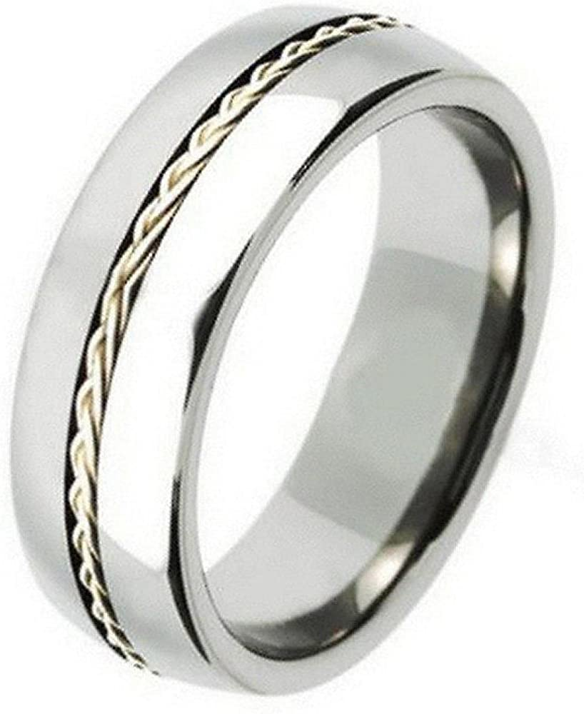 It is just an image of 39mm Tungsten Carbide Shiny With .39 Silver Braided Rope Inlay Wedding Band Ring For Men Or Ladies