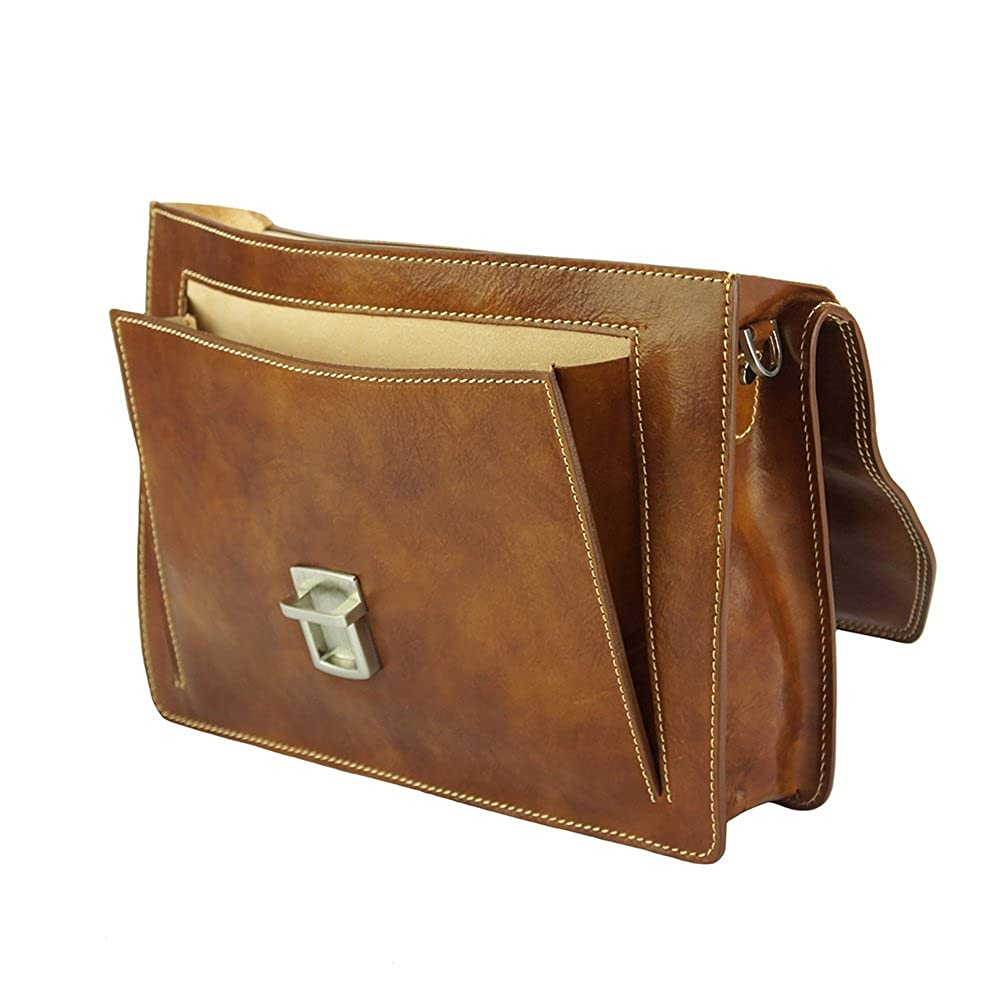 Bags Leather Business Briefcase Corrado with front pocket 7631
