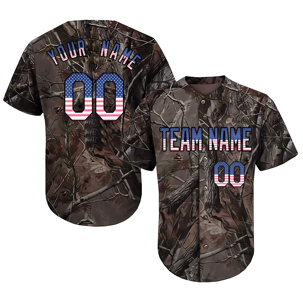 Customized Men's Realtree Camo Baseball Softball Jersey Big & Tall with Embroidered Your Name & Numbers,American Flag Size 5XL by DEHUI