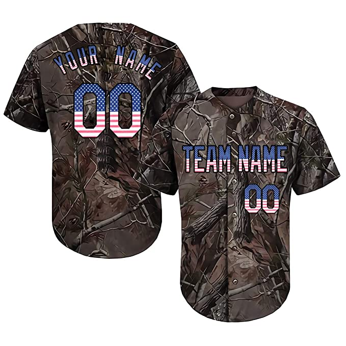 e2765b01fcc41 DEHUI Customized Camo Baseball Softball Jersey Embroidered Your Name &  Numbers