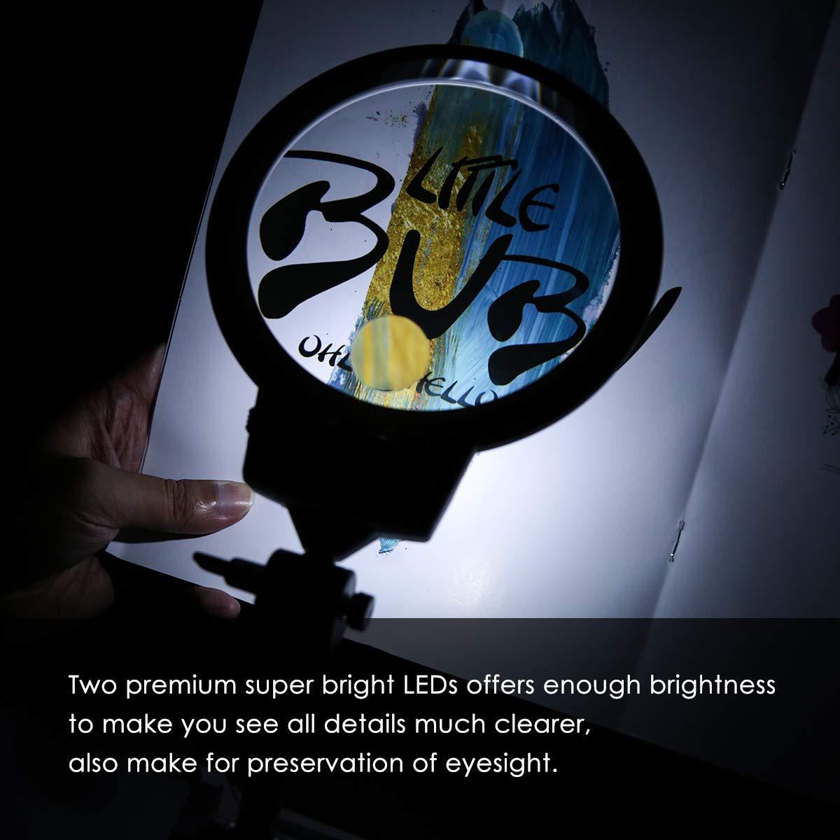 con luci LED per ricamo cucito lavori artigianali Lente di ingrandimento pieghevole da scrivania