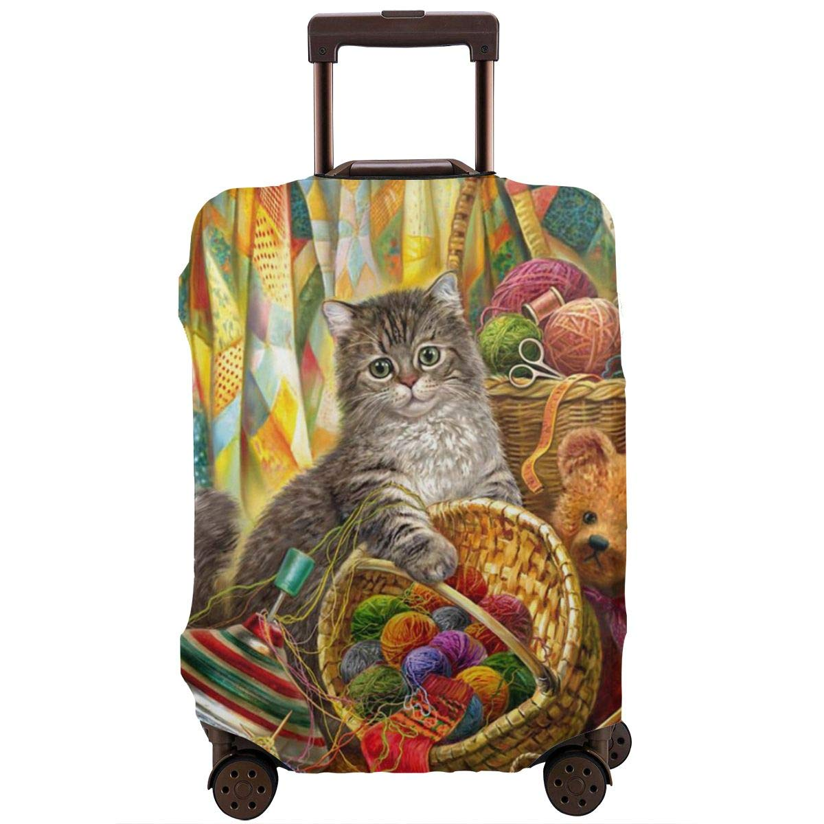 Luggage Cover Cute Cat Knitting Yarn Funny Cats Bear Toy Protective Travel Trunk Case Elastic Luggage Suitcase Protector Cover
