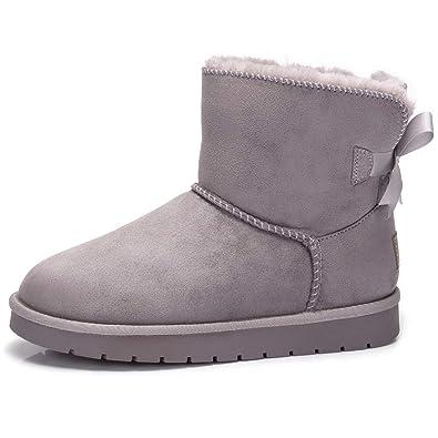 fce45eb706132 CAMEL CROWN Bottes de Neige Femme Faux Nubuck Hiver Bottes Classique  Papillon Sucré Chaudes Snow Boots