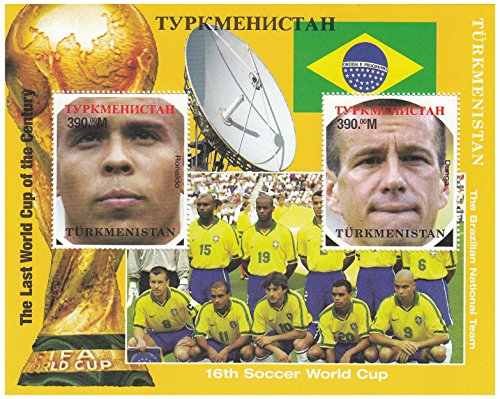 This sheet celebrates the Last World Cup of the Century, the 16th World Cup, held in France in 1998. It shows the Brazilian team photo, the trophy and the Brazilian flag, along with a satellite dish. The 2 stamps feature players Ronaldo and Dunga. Issued by Turkmenistan in 1998, mint never hinged - France Trophy