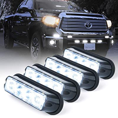 Xprite White 4 LED 4 Watt Emergency Vehicle Waterproof Surface Mount Deck Dash Grille Strobe Light Warning Police Light Head with Clear Lens - 4 Pack: Automotive [5Bkhe2006163]