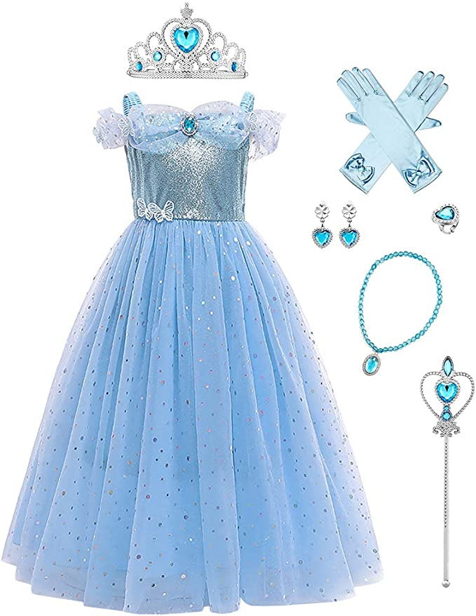 FYMNSI Niña Princesa Sofía Blancanieves Cenicienta Vestir Halloween Fiesta Disfraz Carnaval Navidad Cumpleaños Cosplay con Accesorios para 3-12 años