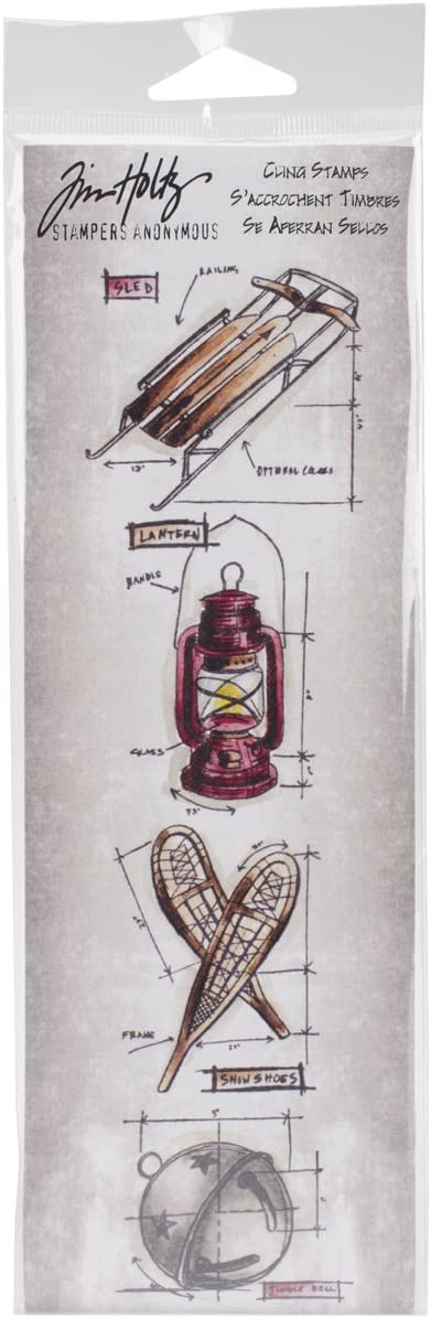 3 by 10 Christmas #5 Stampers Anonymous Tim Holtz Mini Blueprints Strip Cling Rubber Stamps