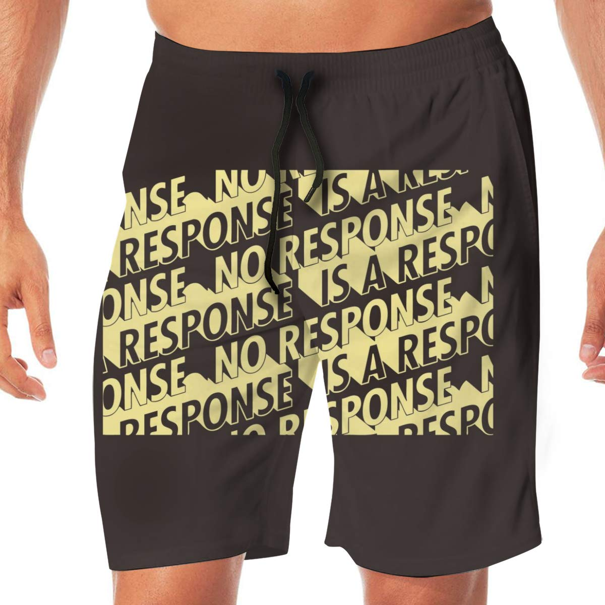 Mens Swim Trunks Quick Dry No Response Poster Letters Beach Board Shorts Swimming Short with Pockets