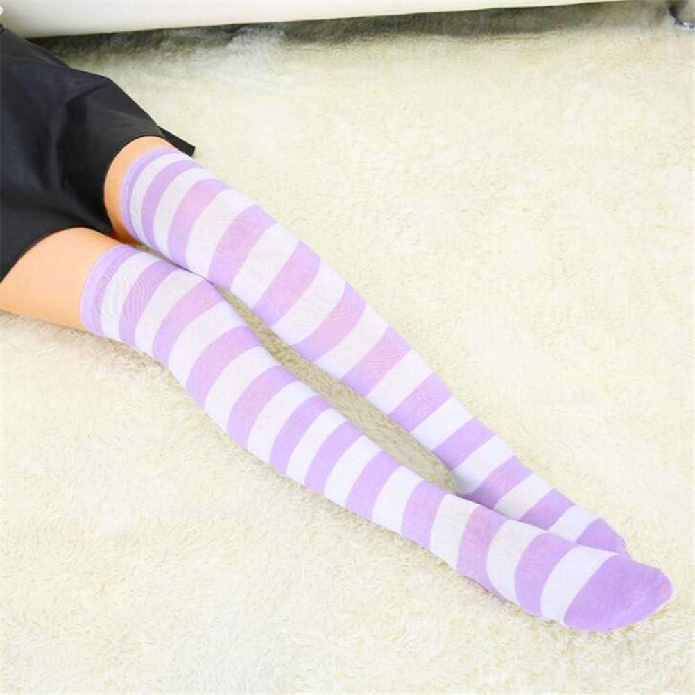 Mixsense Womens 4 Pack Long Striped Socks Over Knee Thigh High Socks Stocking