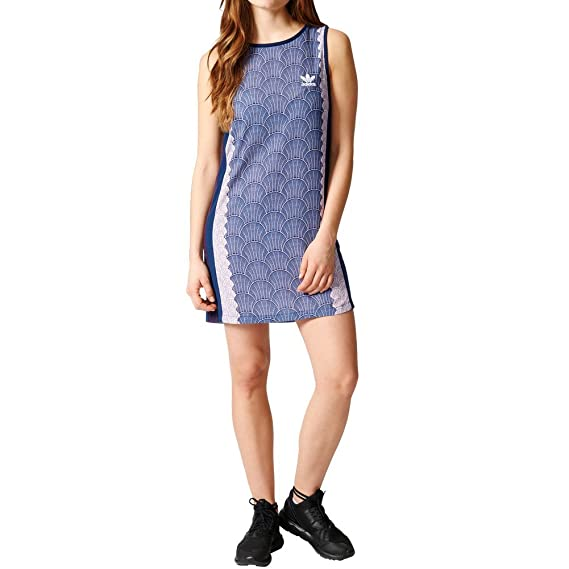 Details about womens adidas dress Originals girls shell tile pull on tank dress trefoil logo