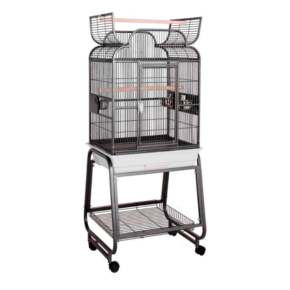 HQ Opening Scrolltop Birdcage with Stand HQ' s Opening Scroll Cage 1 Per Box 22x17x55H Black..