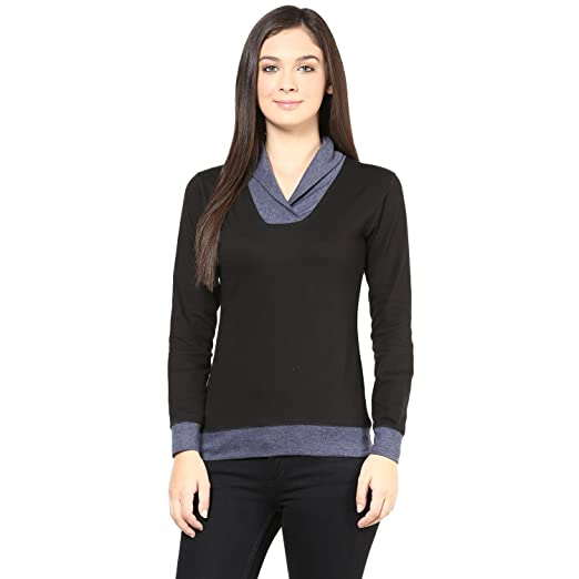 Hypernation Black Color Shawl Collar T-Shirt for Women Tshirts at amazon