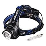 Linkax USB Rechargeable LED Headlamp Headlight Super Bright 3 modes Zoomable Focus LED Head Torch light for Camping Running Fishing Hiking Reading Kids DIY with USB cable