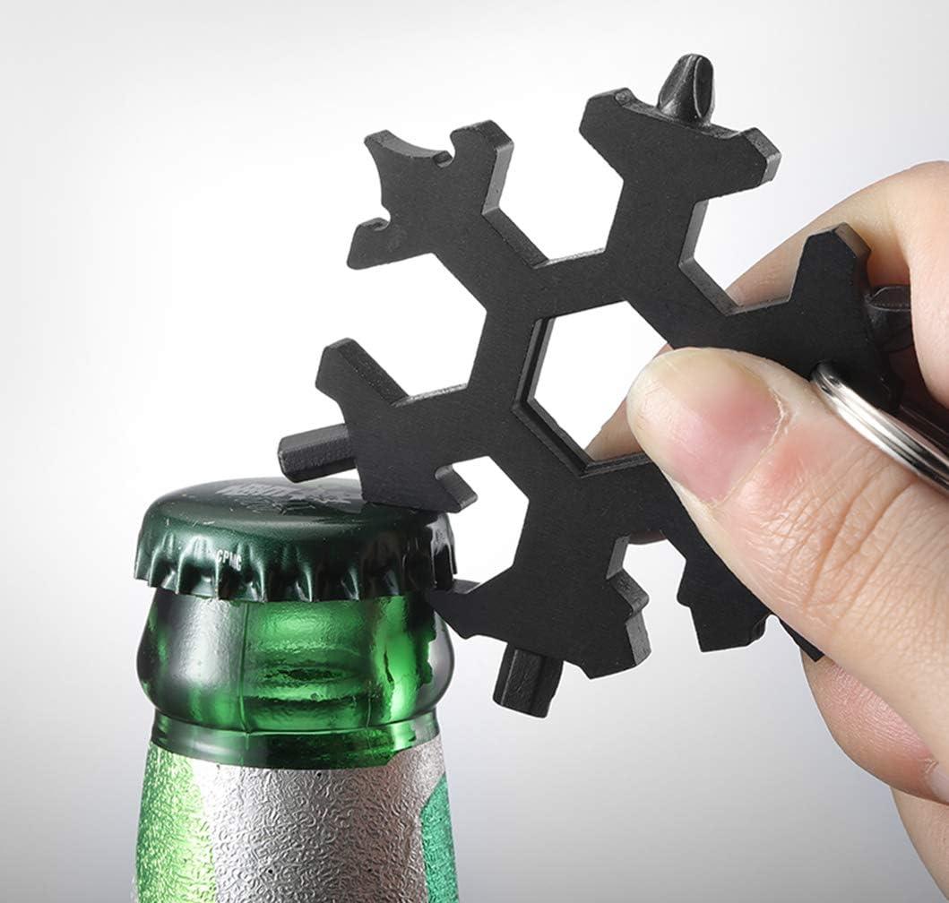 Multi attrezzo Cacciavite Bottle Opener Keychain per Viaggi in Campeggio Multi-Tool in Acciaio Inox Kaiyingxin 2 PZ 18-in-1 Multi-Tool Snowflake