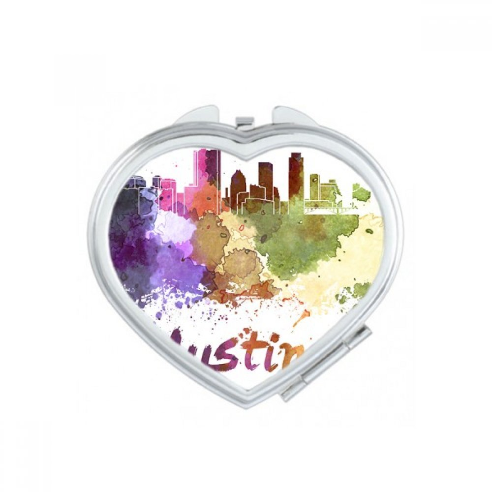 Austin America Country City Watercolor Illustration Heart Compact Makeup Pocket Mirror Portable Cute Small Hand Mirrors Gift