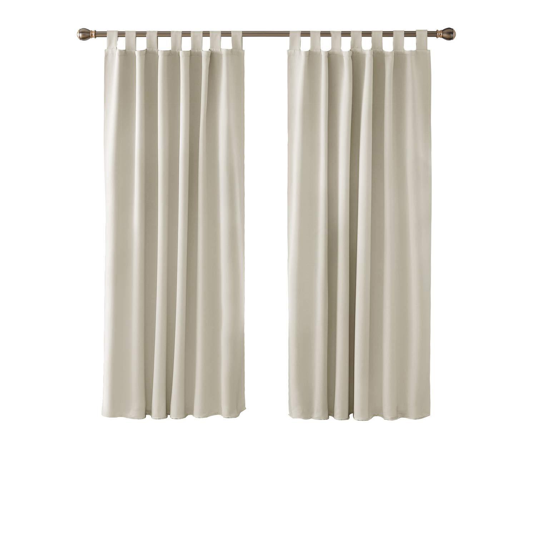 Deconovo Lot de 2 Rideaux Occultants Thermique Opaque pour Chambre Salon Design Moderne à Pattes 117x138cm Rose