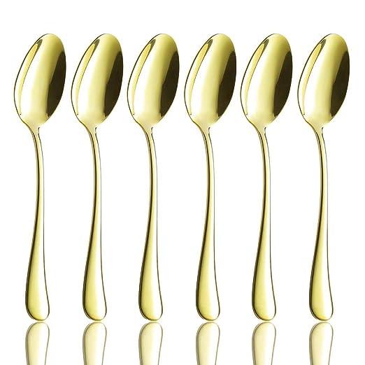 Juego de 6 cucharas para cena, de acero inoxidable 18/10, de ...