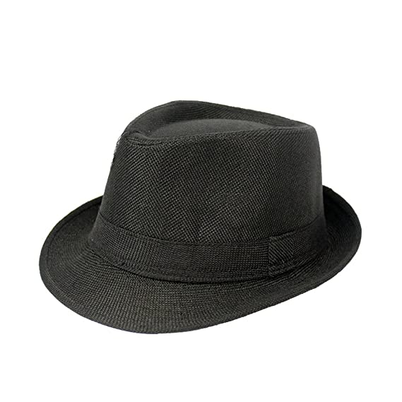 Idopy Men`s Classic Vintage Cotton Blended Solid Color Trilby Jazz Fedora Hat Cap