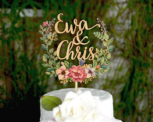 Wood Floral Wreath Cake Topper, Personalized Wedding Cake Topper, Custom  Wedding Cake Topper,