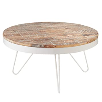 31 5 Nautical Cape Cod Round White Coffee Table With Washed Wooden