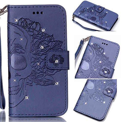 Funda Galaxy S4, Carcasa Plegable para Galaxy S4, Funda de piel Samsung i9500, Lifetrut Sólido Shiny Sparkle libro de estilo funda de cuero con ranura para tarjetas de cierre magnético soporte funda d E210-Cráneo en marina de guerra