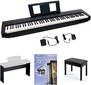 Yamaha P45 88-Key Weighted Action Digital Piano with Sustain Pedal and Power Supply, Standard, Black, Bundle