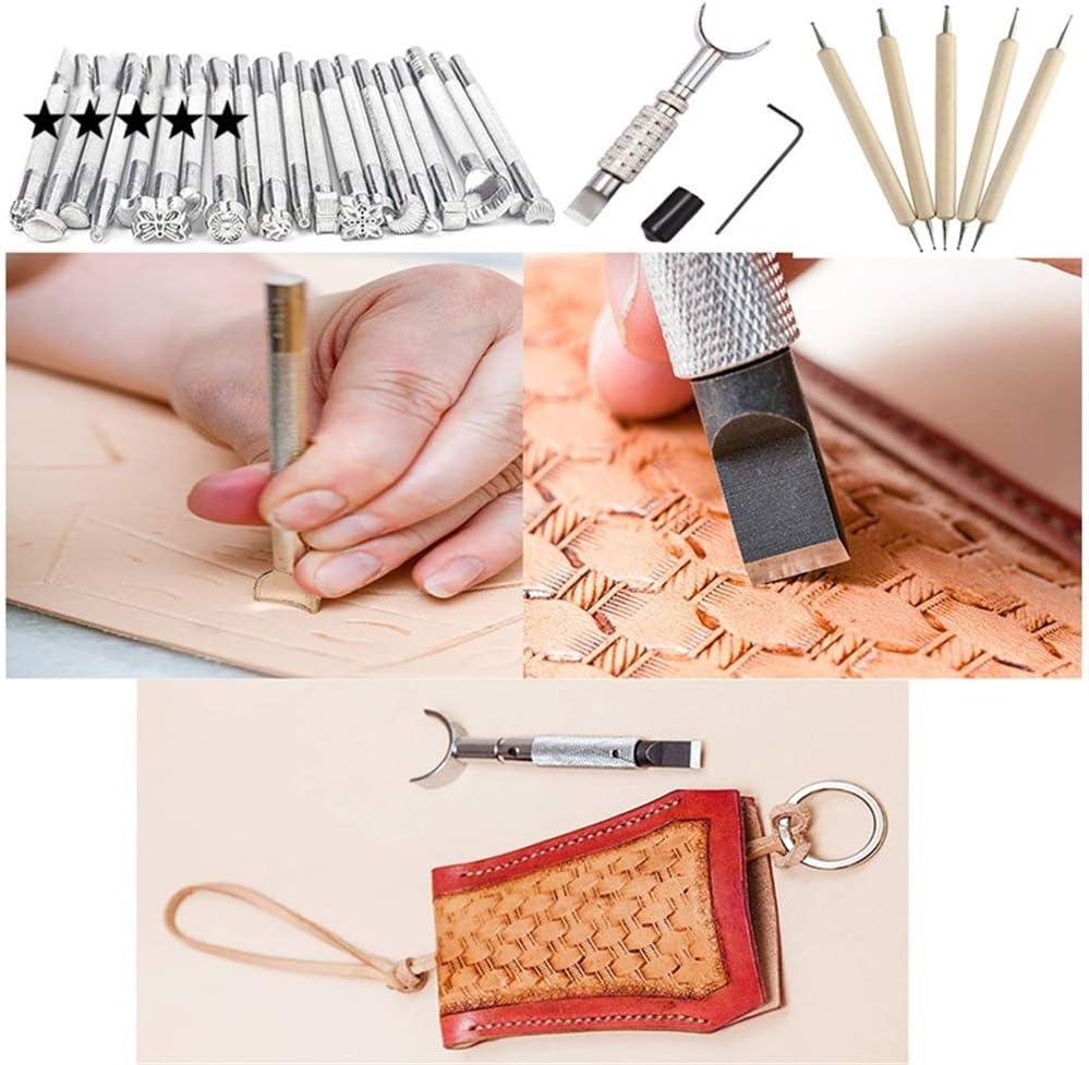 366 Piezas Juegos y Kits de Costura Kits de Repujado de Cuero Herramientas de Coser Perforadora de Cuero para Manualidades DIY Cuero Artesan/ía #1 CHSEEO Artesan/ía del Cuero