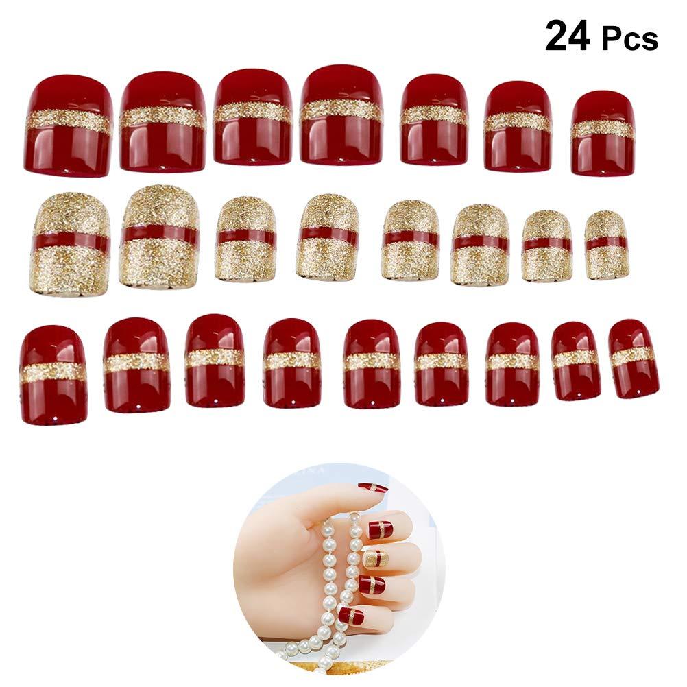 Lurrose - Juego de 24 uñas postizas de Navidad para niñas y ...