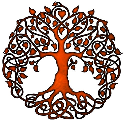 Tree Of Life Cut Out Faux Copper Finish Metal Sign