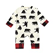 GoodLock Baby Boys Girls Romper Infant Newborn Cartoon Bear Letter Plaid Romper Jumpsuit Outfits (Beige, 6 Months)