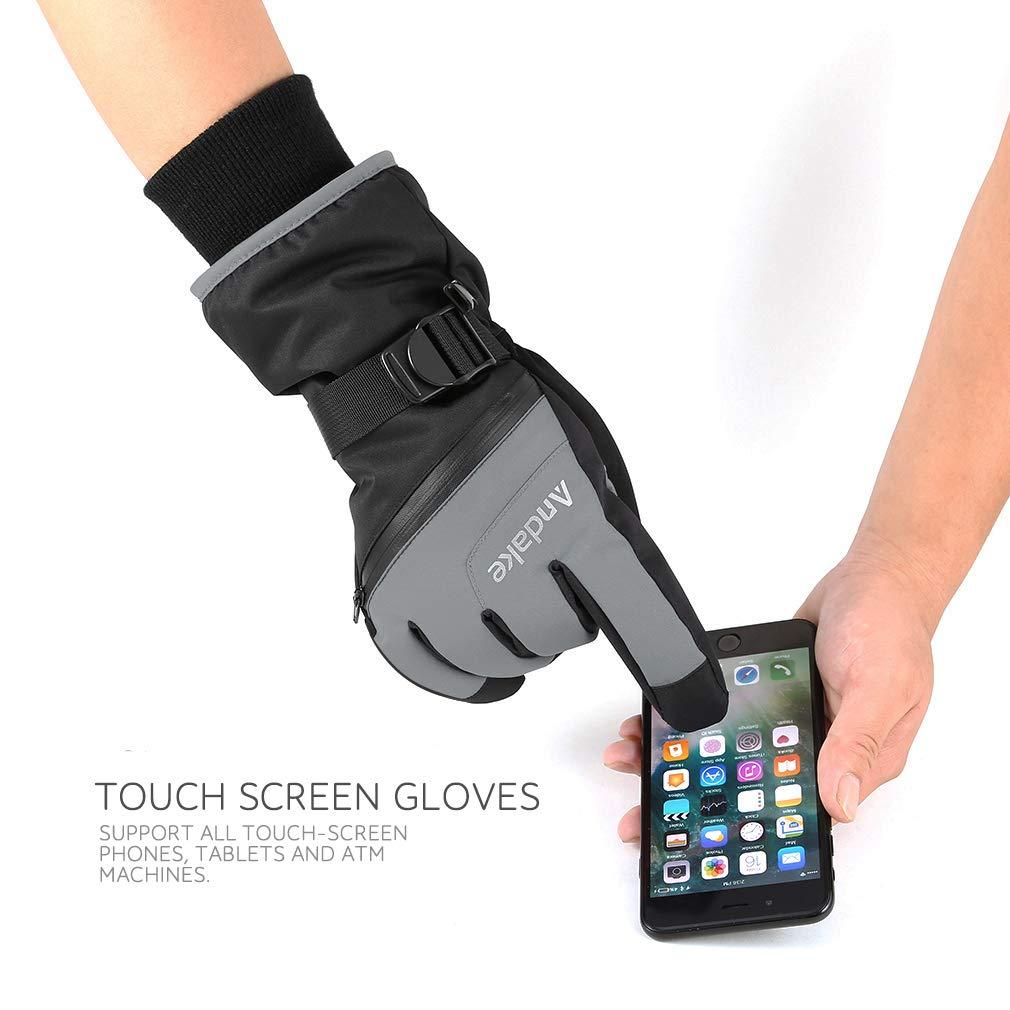Andake Guanti Invernali Touch Screen Uomo con Peluche Antisdrucciolevole Pelle e Riempie con Cotone Impermeabile 3M Guanti Sportivi per Sci//Snowboard