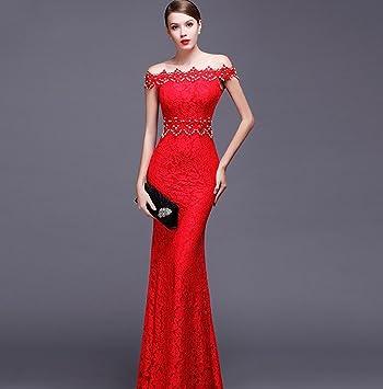 Formal vestido de noche rojo/blanco/negro off-Shoulder cola de pez sin