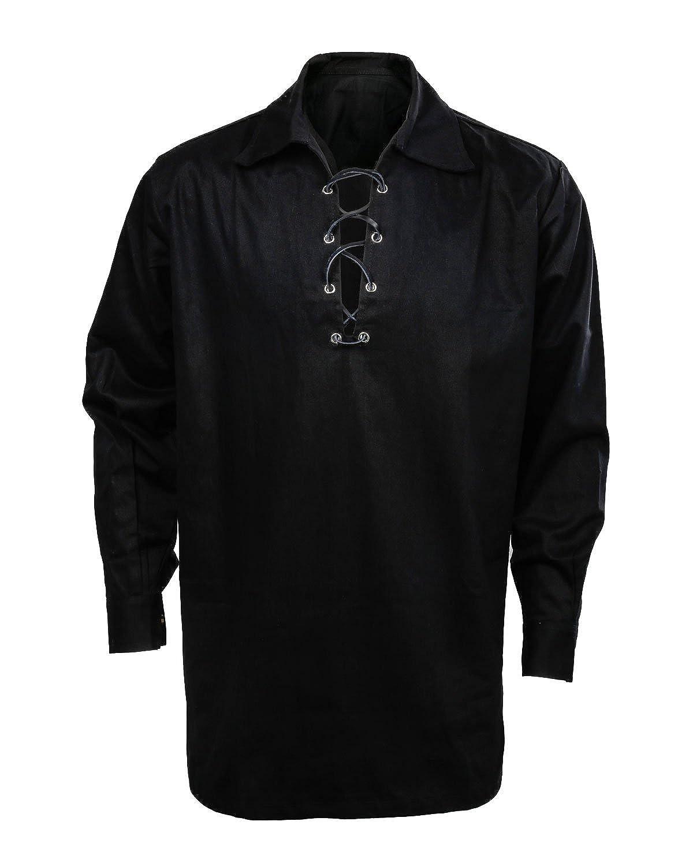SOLOTIMES Men/'s Scottish Jacobite Ghillie Kilt Highland Shirt Long Sleeve Lace Up Medieval Renaissance Pirate Costume