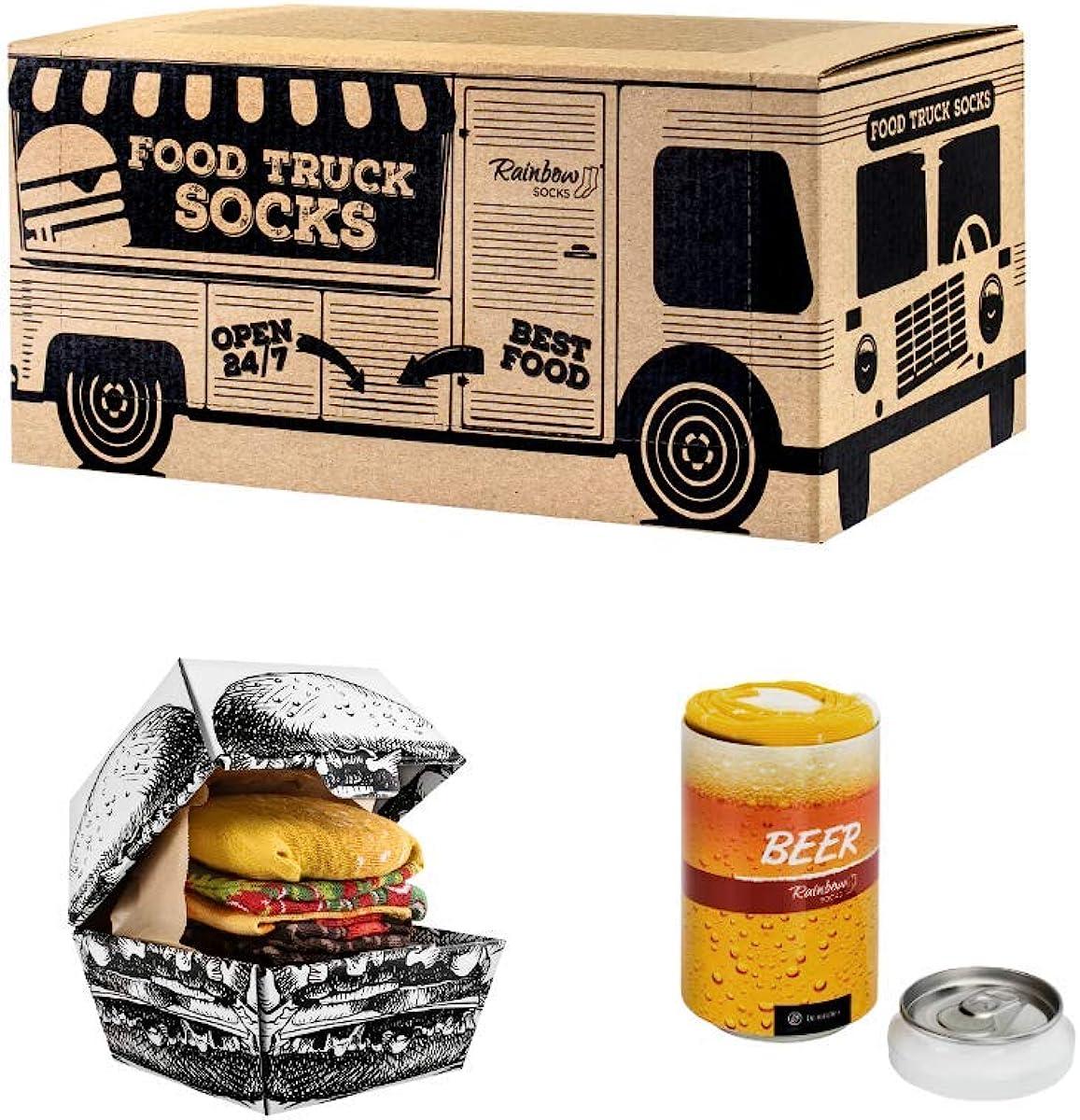Rainbow Socks - Men Women Funny Food Truck Box - 3 Pairs