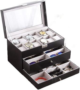 3 Pisos Cuero Caja De Reloj con Tapa De Vidrio, Multicapa Arete Collar Joyero Lentes Caja De Almacenamiento para Hombres Señora: Amazon.es: Relojes