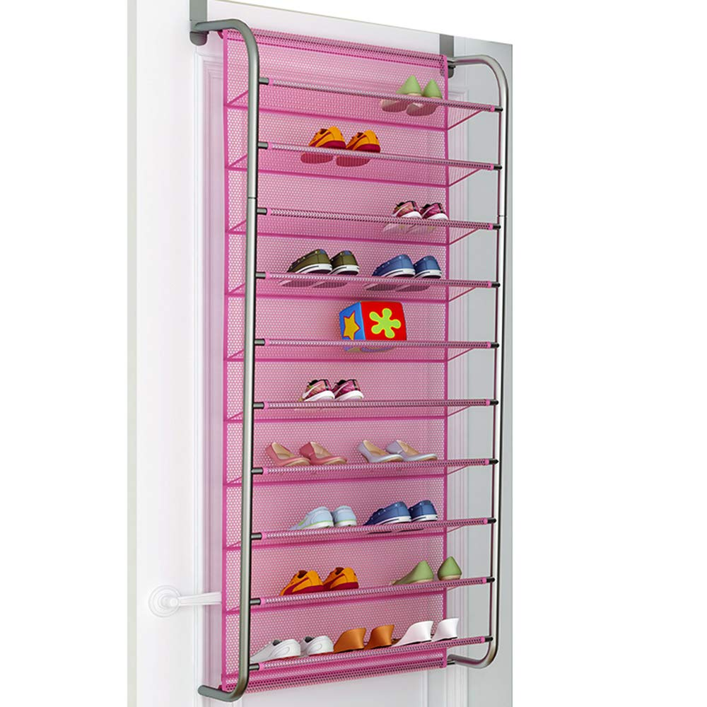 LEHUO HOME 10-Tier Over The Door Shoe Organizer Wall-amounted Steel Tube Storage Shoes Shelf with nets Space-Saving Hanging Shoe Rack (Pink B) by LEHUO HOME