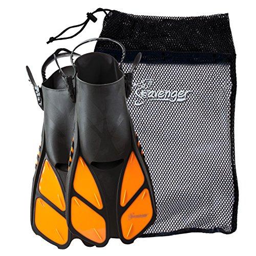 Seavenger Torpedo Swim Fins | Travel Size | Snorkeling Flippers with Mesh Bag for Women, Men and Kids (Orange, L/XL)